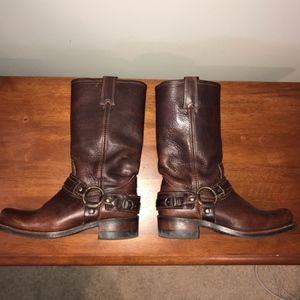 Frye Harness brown leather boots